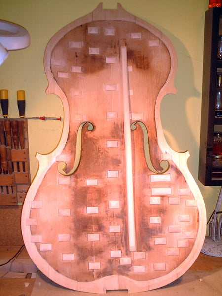 The inside table of the John Thomas Hart double bass – English Double Bass by John Thomas Hart, London circa 1850