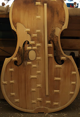 English Double bass circa 1870 att. William Calow Internal restoration