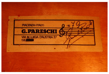 Inside label – Italian Double Bass by Gabriele Pareschi, Piacenza anno 1979