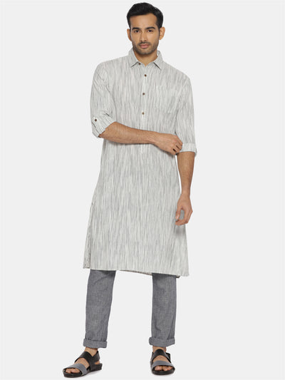Black & white striped collared kurta