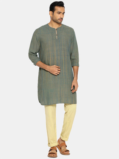 Bottle green round collared kurta