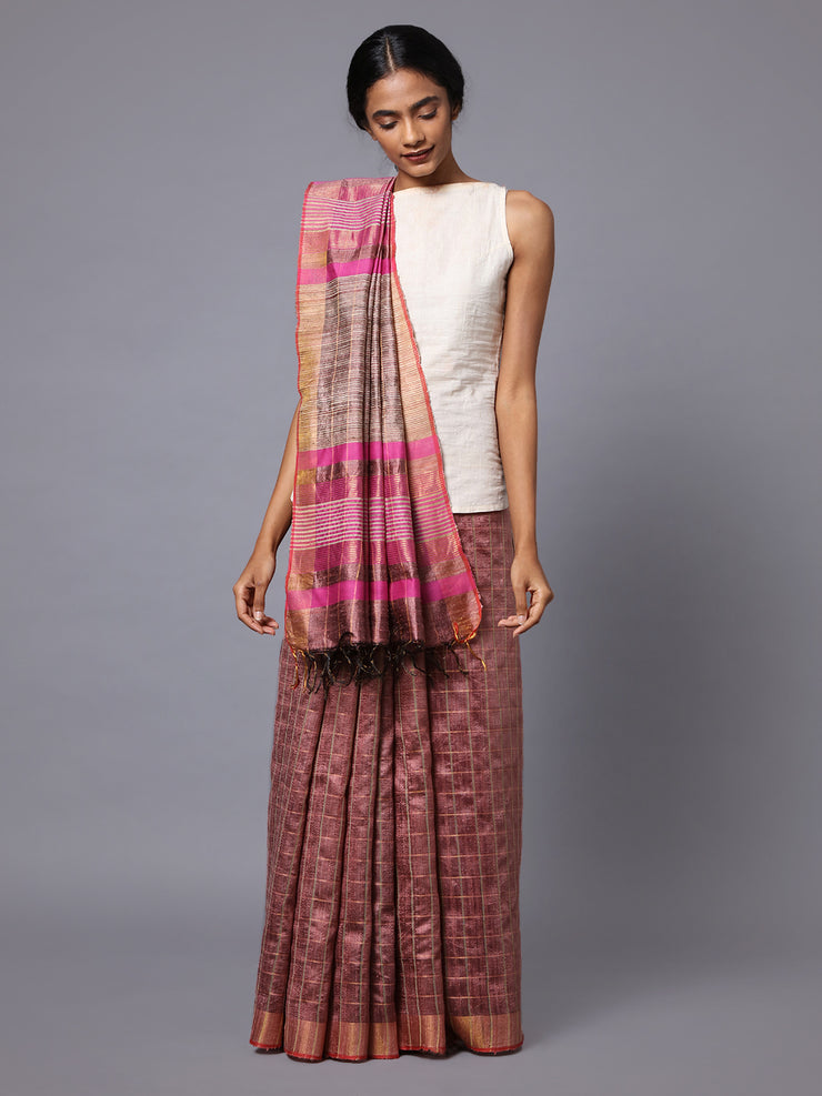 Rose Pink Handloom Tussar Silk Saree