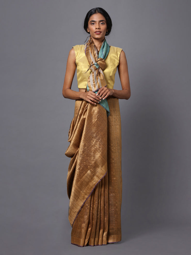 Golden Brown Handloom Tussar Silk Saree