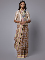Handblock printed handwoven cotton saree