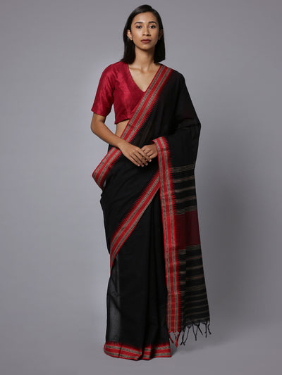 Black handloom phulia cotton saree
