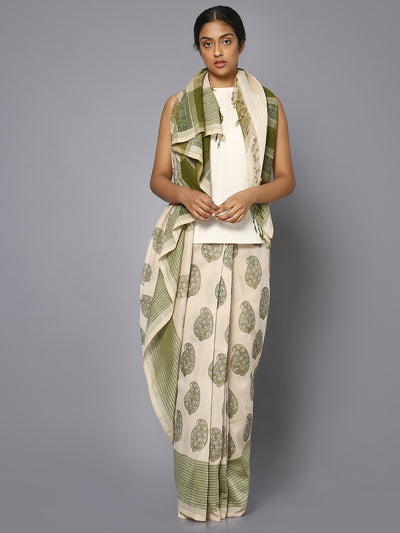 Off white & green block print cotton saree
