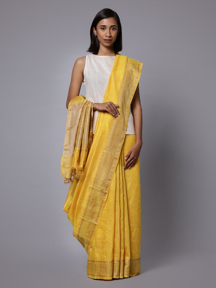 Golden yellow matka silk handloom saree