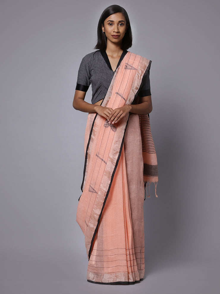 Light orange linen handloom saree