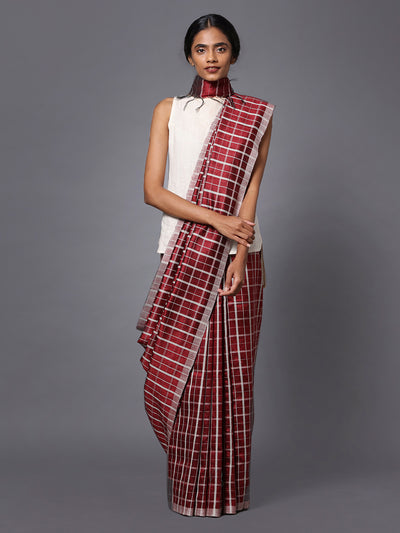Burgundy Checks Handloom Tussar Silk Saree