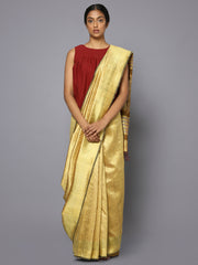 Golden tussar silk saree