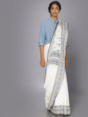 White tant cotton saree