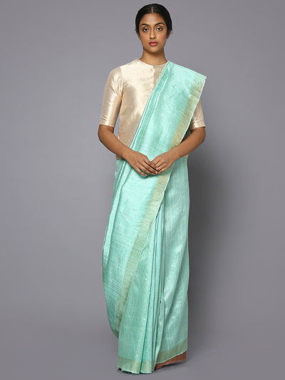 Aqua green tussar silk saree