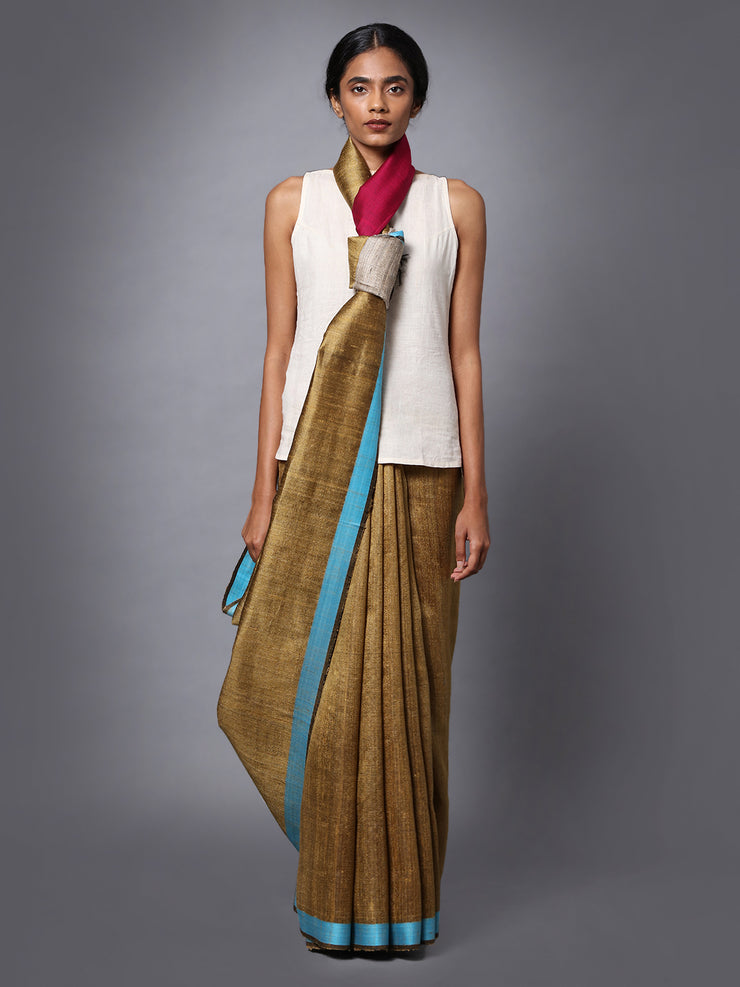 Brown Handloom Tussar Silk Saree