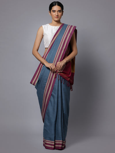 Ilkal grey handloom cotton saree