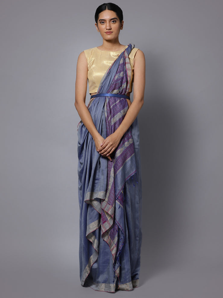 Blue grey bengal handloom cotton silk saree