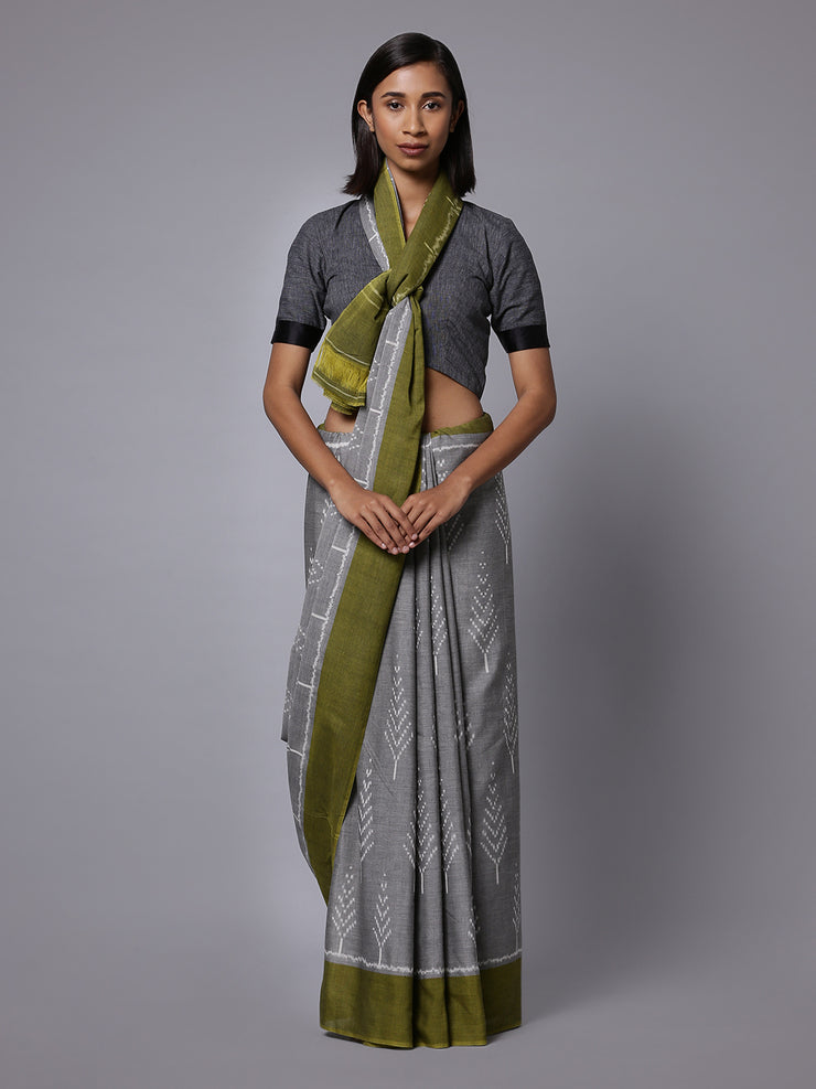 Grey green ikat handloom cotton saree
