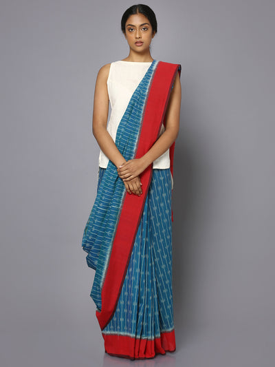 Blue & red ikat saree