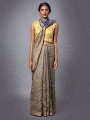 Grey Beige Handloom Tussar Silk Saree