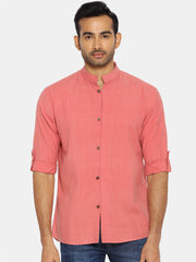 Flamingo pink mandarin collar shirt