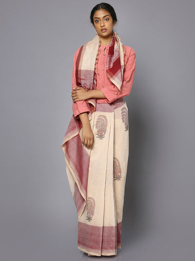 Off white & maroon block print cotton saree
