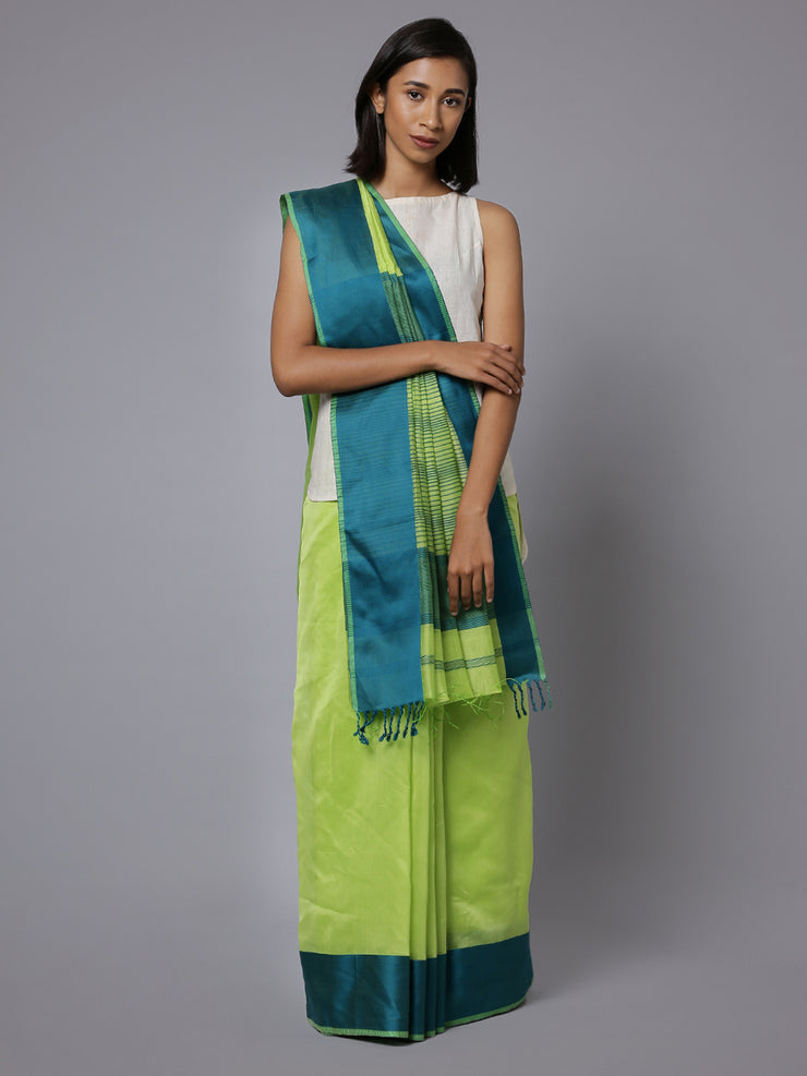 Green handloom maheshwari cotton silk saree