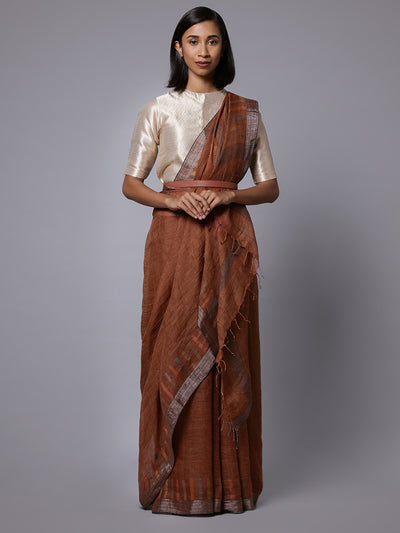 Brown jamdani linen bengal handloom saree