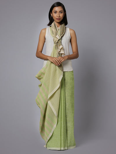 Handblock printed light green cotton saree