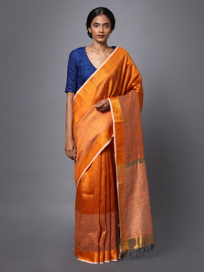Orange Handloom Tussar Silk Saree
