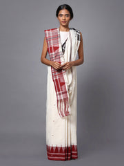 White Kotpad Handloom Cotton Saree