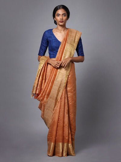 Light Orange Handloom Tussar Silk Saree