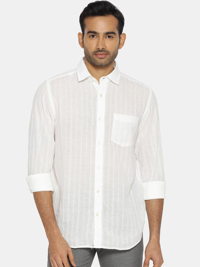 White on white striped regular collared shirt