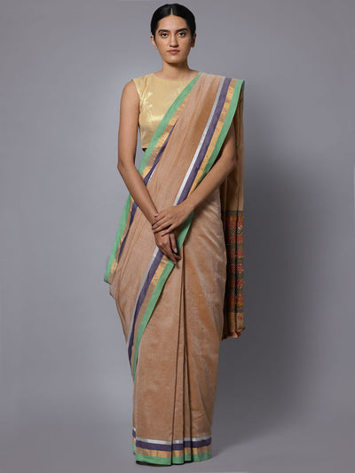 Beige hand embroidery cotton saree