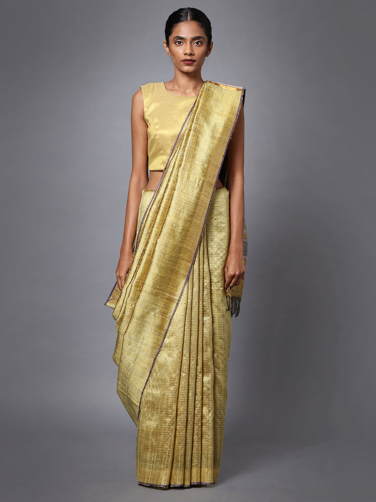 Light Golden Handloom Tussar Silk Saree