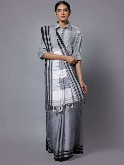 Grey ilkal handloom cotton saree