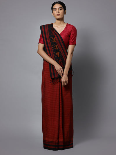 Maroon ilkal handloom cotton saree