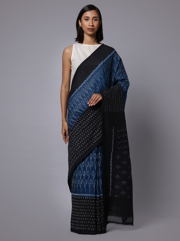 Ikat blue black handloom cotton saree