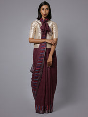 Wine color jamdani handloom linen saree