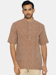 Brown striped mandarin collared short sleeve shirt