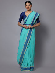 Sea green jamdani handloom cotton saree