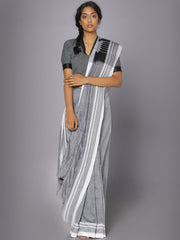 White striped grey ilkal cotton saree