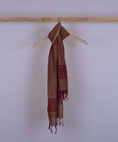 Brown handwoven cotton stole