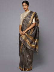 Copperish grey tussar silk saree