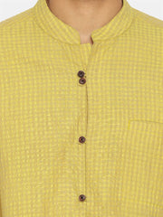 Textured lemon mandarin collar shirt