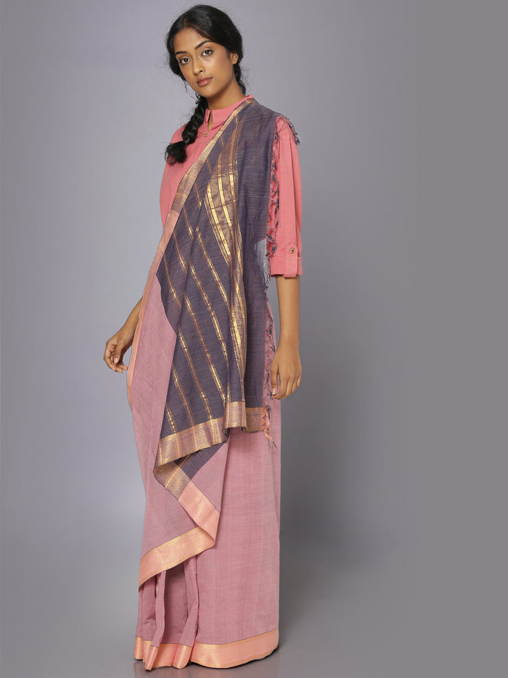 Blush pink mangalgiri cotton saree