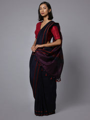 Navy blue cotton linen handloom saree