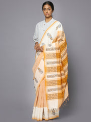 Light orange block print cotton saree