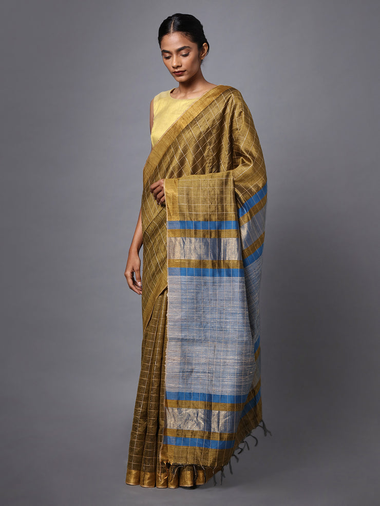 Handloom Golden Brown Tussar Silk Saree
