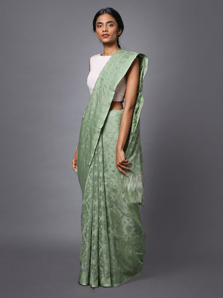 Sage Green Handloom Jamdani Cotton Silk Saree