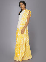 Yellow jamdani soft cotton saree