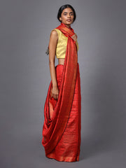 Red Orange Handloom Tussar Silk Saree